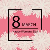 Abstract Pink Floral Greeting card - International Happy Women`s. Day - 8 March holiday background with paper cut Frame Flowers Royalty Free Stock Photos