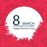 Abstract Pink Floral Greeting card - International Happy Women`s. Day - 8 March holiday background with paper cut Frame Flowers Royalty Free Stock Images