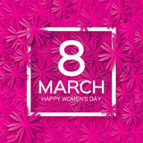 Abstract Pink Floral Greeting card - International Happy Women's Day - 8 March holiday background Stock Image