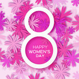 Abstract Pink Floral Greeting card - International Happy Women's Day - 8 March holiday background. With paper cut Frame Flowers. Happy Mother's Day. Happy Royalty Free Stock Image