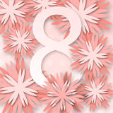 Abstract Pink Floral Greeting card - International Happy Women`s Day Stock Images