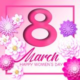 Abstract Pink Floral Greeting card - International Women`s Day. 8 March holiday. Background with paper cut flowers. Trendy Design Template in pink and purple royalty free illustration