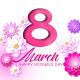 Abstract Pink Floral Greeting card - International Women`s Day. 8 March holiday. Background with paper cut flowers. Trendy Design Template. Vector stock illustration