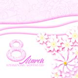 Abstract Pink Floral Greeting card - International Women`s Day. 8 March holiday. Background with paper cut flowers. Trendy Design Template. Vector royalty free illustration