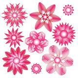 Abstract pink floral ornament collection. Over white background Stock Photo