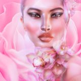 Flowers of pink. Abstract pink, floral with womans. Pink flowers adorn a close up of a beautiful womas face on a pink abstract background with a pink flower in Stock Image