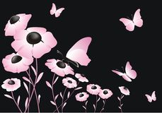 Abstract pink flower with butterflies. On black background Royalty Free Stock Photography