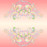 Abstract pink frame. Backdrop for text with floral ornament petals and curlicues Royalty Free Stock Photography