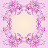 Abstract pink frame. Backdrop for text with floral ornament petals and curlicues Royalty Free Stock Images