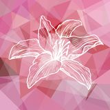 Abstract pink geometric background with flower Stock Photo