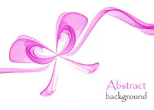 Abstract pink gift bow made of transparent ribbons. On a white background Stock Image