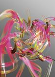 Abstract pink and gold ribbons. An abstract image of swirling pink and gold ribbons on a grayish background Royalty Free Stock Images