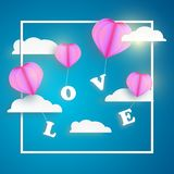 Abstract pink heart balloon carrying LOVE letter in blue sky with white clouds and frame. Happy valentines day vector greetings card design Stock Photo