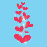 Abstract pink heart on blue background Stock Images