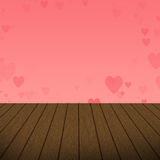 Abstract Pink Heart bubbles with wood background stock photo