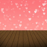 Abstract Pink Heart bubbles with wood background stock image