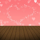 Abstract Pink Heart bubbles with wood background stock images