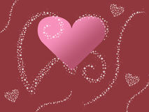 Abstract pink heart design with sparkle swirls valentines day card background illustration Stock Image