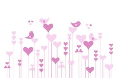 Abstract pink heart garden with lovebirds on white, vector Royalty Free Stock Photography