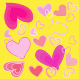Abstract pink heart on yellow background Royalty Free Stock Photo