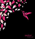 Abstract pink leaf and hummingbirds background. With place for your text stock illustration