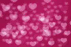 Pink love hearts bokeh blurred background Royalty Free Stock Photos