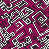 Abstract pink maze seamless pattern with grunge effect Stock Photos
