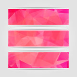 Abstract Pink Modern Triangular Polygonal headers Stock Photography