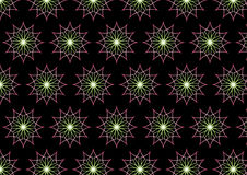 Abstract Pink Neon Flower Pattern on Black Background Royalty Free Stock Photo