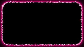 Abstract pink neon lightning glowing rectangle frame