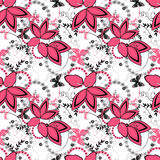 Abstract pink ornament seamless pattern on white Royalty Free Stock Image