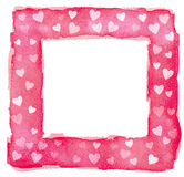 Abstract Pink Red and White Watercolor Hearts Square Frame Borde Stock Photo
