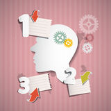 Abstract Pink Retro Infographic Layout with Paper Head. Cogs, Paper Sheets and Arrows Royalty Free Stock Photo