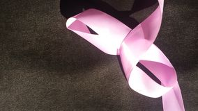 Abstract Pink Ribbon on Leather Stock Image