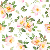 Abstract pink roses flower watercolor seamless pattern. Abstract roses flower watercolor seamless pattern Stock Photo