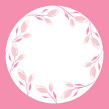 Abstract pink roses flowers; frame design in white circle background Royalty Free Stock Photography