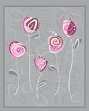 Abstract pink roses postcard on gray background Stock Images
