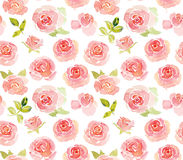 Abstract pink roses watercolor seamless pattern Stock Photography