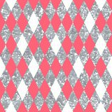 Abstract pink seamless pattern with rhombus. And glitter Royalty Free Stock Photography