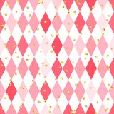 Abstract pink seamless pattern with rhombus. And glitter Stock Photos