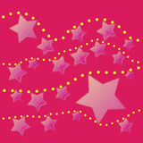 Abstract pink star with yellow dot on pink background Royalty Free Stock Photography