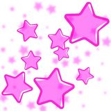 Abstract pink stars background on white stock illustration