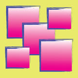Abstract pink strip blue square on yellow background Stock Photo