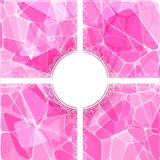 Abstract pink vector card with lace label Royalty Free Stock Images