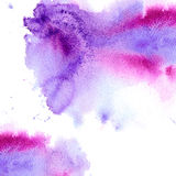 Abstract pink and violet watery frame. Aquatic backdrop.Hand drawn watercolor stain.Rose splash Royalty Free Stock Photo