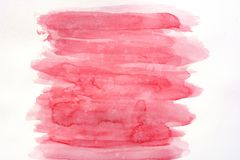 Abstract pink watercolor art hand paint on white background, brush texture. Copy space. Perfect stroke design for headline royalty free illustration