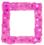Abstract Pink Watercolor Hearts Square Frame Border Stock Images