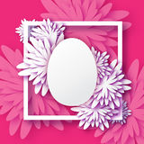 Abstract Pink White Floral Greeting card - Happy Easter Day -  Spring Easter Egg. Stock Photo