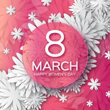 Abstract Pink White Floral Greeting Card - International Happy Women S Day - 8 March Holiday Background Stock Image