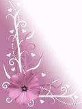 Abstract pink and white valentines day card flower design background illustration with hearts Stock Image